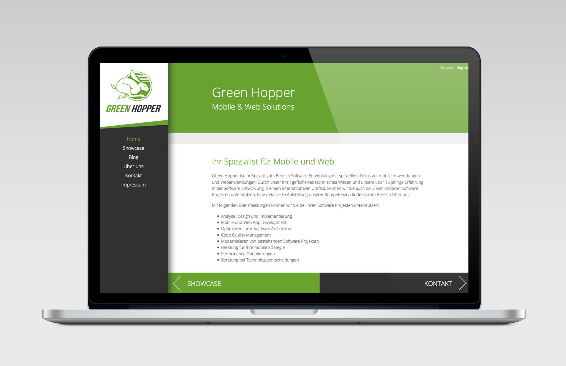 'responsive Website für Green Hopper