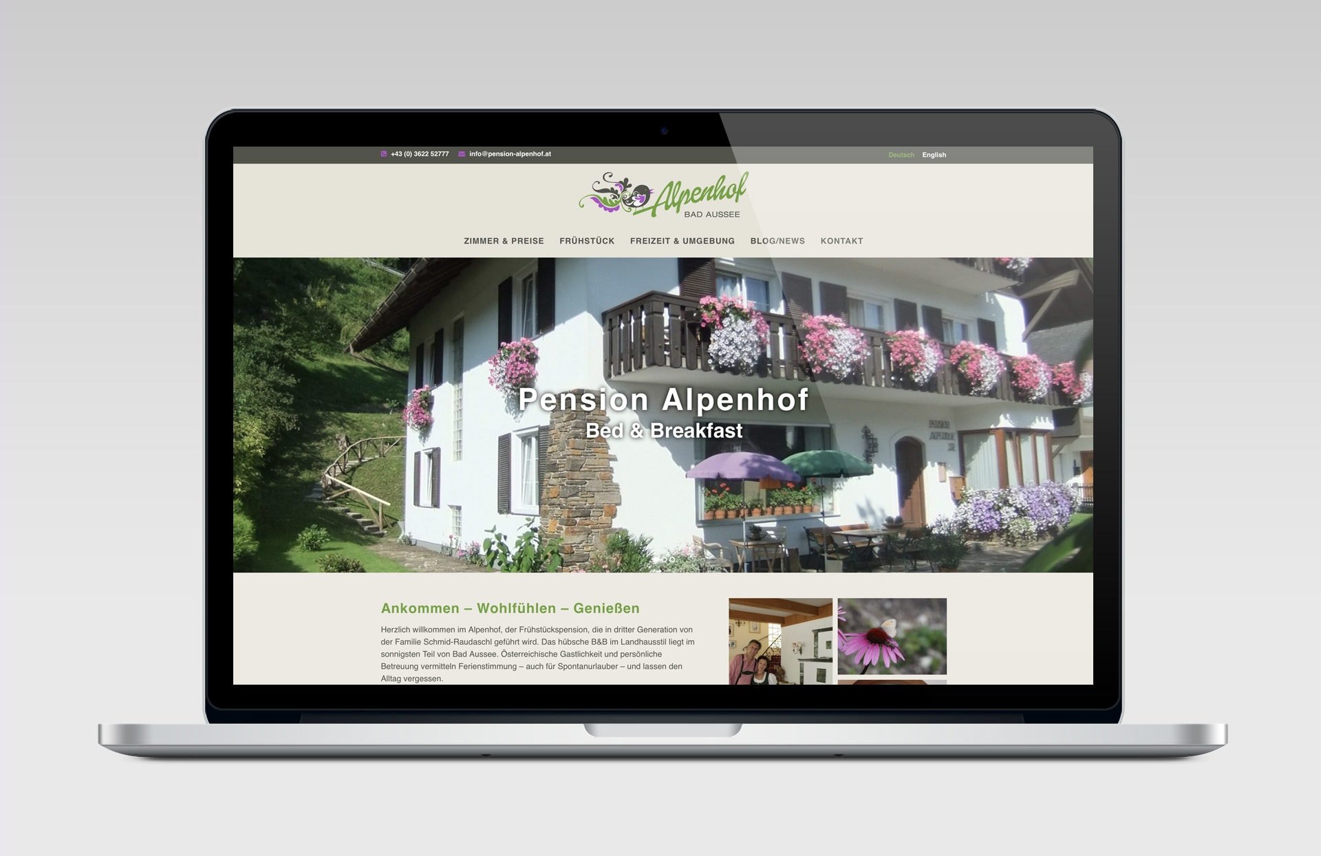 'responsive Website für Pension Alpenhof in Bad Ausse