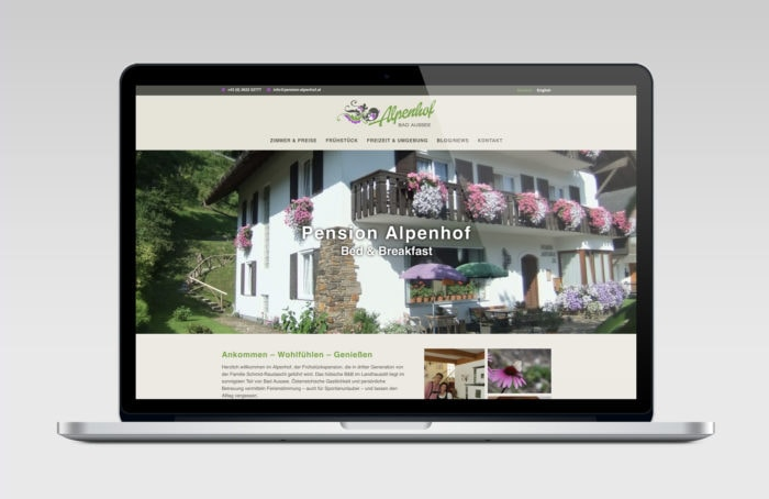 responsive Website für Pension Alpenhof in Bad Ausse
