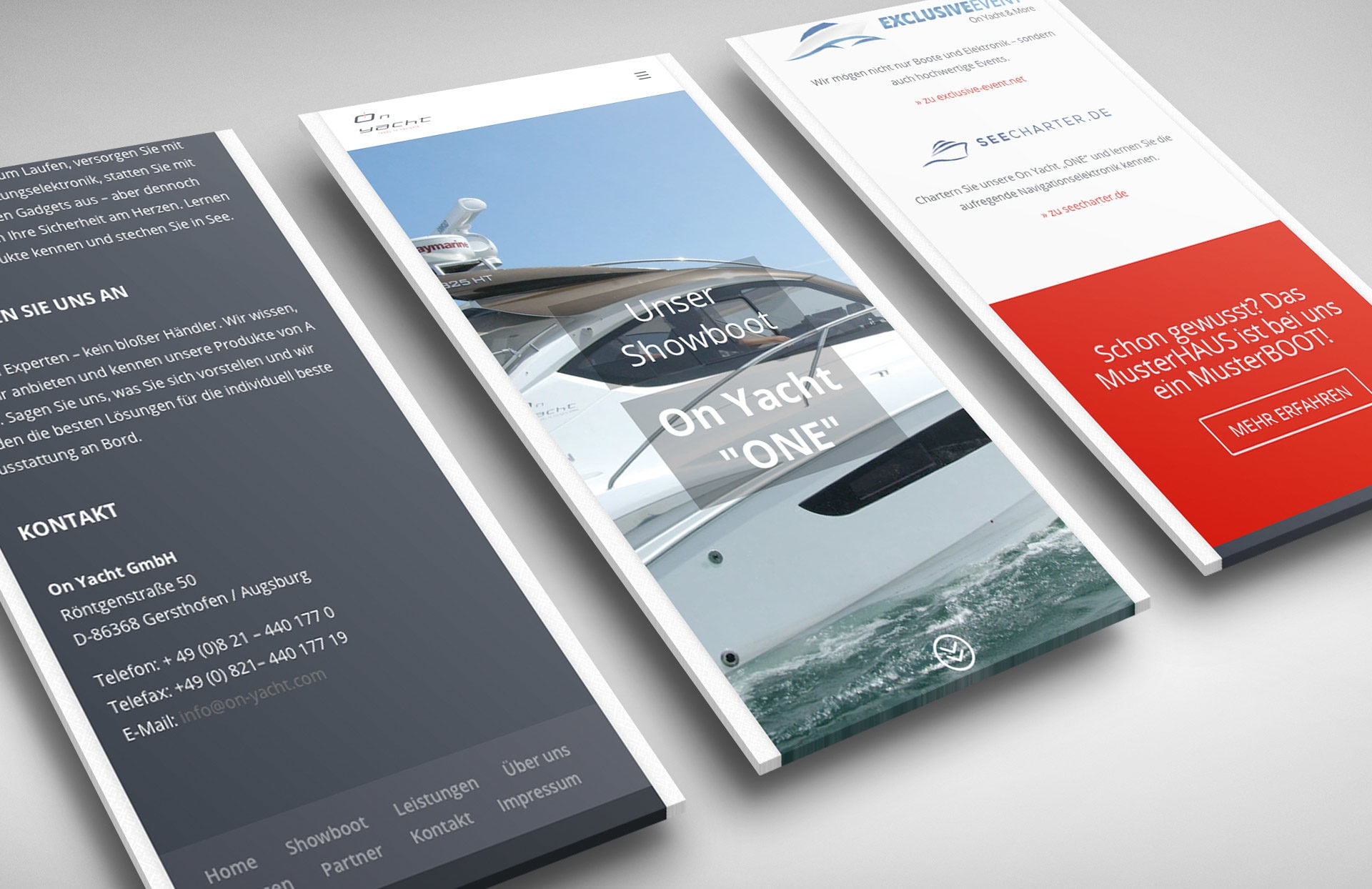 'responsive Website für On Yacht GmbH (Smartphone)